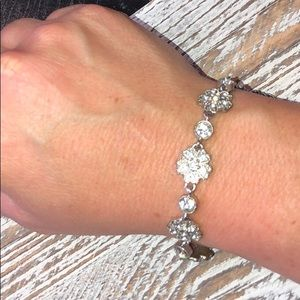 Jewelry - Gently Used Silver Floral Design Bracelet